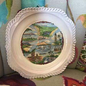 Vintage Aloha Hawaii shabby boho plate